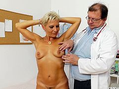 Ellen was one hell of a hottie at her time and she still keeps herself in a good shape. Although the time has passed, this bitch is still smoking hot but just to be sure she's fit and healthy, she goes at the doc for a check up. The old doc examines her boobs and surely, he will examine her pussy in detail!
