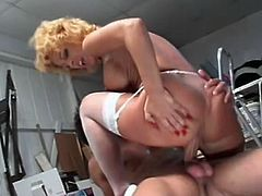 This spicy mature chick with hot body seduced her horny muscular neighbor. She shows him her sweet tits and hot ass and makes him hard like a rock.