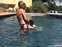 Wolf Lotus is having a good time with pretty slim blonde Audrey Leigh. He allows the chick to tie him up and play with his balls and then doesn't mind her to drill his butt with a strapon.