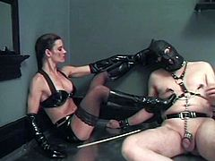 Poor dude gets punished and humiliated by Cleopatra. He licks high boots and and gets whipped. Of course he also gets tortured with claws.