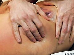 Blonde is good on her way to make hard dicked guy explode on oral action
