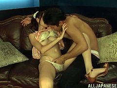 She is on her back and she loves missionary pose and this wild Asian dude is ready to make her happy before he cum on her lovely face.
