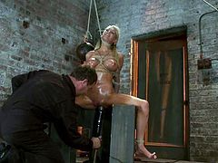 Big tittied Blake Rose gets tied up and tortured with metal weight fixed to her nipples. Later on she also gets her dripping pussy toyed by her master.