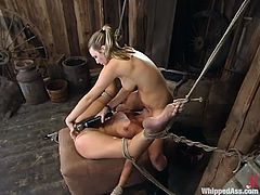 Two petite babes are in BDSM! They get naked and start getting each other's hot twats. Damn, this is so fucking amazing to watch!