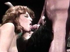 Nasty retro babes are enjoying a tasty dick smashing them both in pure hardcore threesome