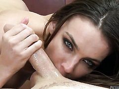 Tiffany Tyler drops on her knees to give deep blowjob to Will Powers