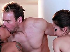 Dani Daniels and Christy Mack share a hard cock in this amazing free porn video. Watch them sucking and getting fucked while sharing hot lesbian pleasures.