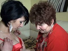 Watch this hot babe getting pleased by her old nanny in her bedroom all naked and wet in Old Nanny sex clips.