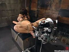 This gorgeous blond sex slave is living through some pain in fact. Honey is tied up and the fucking machine makes her reach orgasm. Then she gets wired and charged with electrodes!