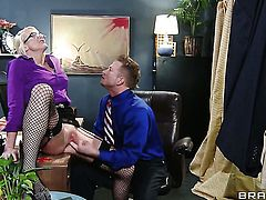 Bill Bailey gives amazing Leya Falcon's back porch a try in steamy hardcore action