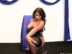 Watch her suck that massive cock of her coworker who loved to fuck all three babes in his office in Brazzers Network sex clips.
