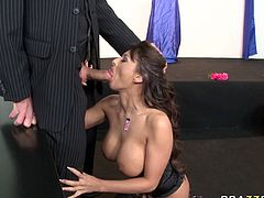 Allison Star loved to suck her friend's large and fat cock