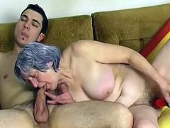 Steamy FFM scene with fat old granny and young horny couple