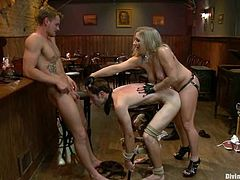 So here are two dudes obeying this desirable bitch Dia Zarva. She locks Nomad's cocks and twitches his balls, while other guy fucks her doggy style!