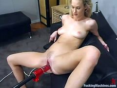 This juicy and gorgeous blond honey Phoenix gets naked and starts having fun with a fucking machine! Oh, she is so amazing!