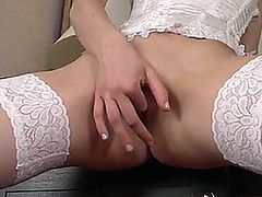 18 yr old newcomer with perky nipples and a super tight pussy teases in sexy lingerie before slipping a finger deep in her wet fuck hole