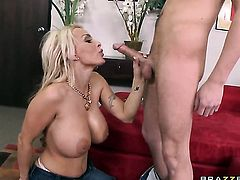 Holly Halston with huge breasts is ready to suck Sonny Hicks's rock solid tool day and night