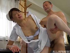 Get a load of this hot scene where the sexy nurse Hisae Yabe gets fucked by this doctor as you hear her moan.