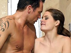 Marcus London is one hard-dicked stud who loves banging Brunette Allison Moore with big jugs