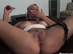 Watch the busty blonde milf Abbey Brooks flaunting her hot tits while fingering and dildoing her pussy into a breathtaking explosion of pleasure.