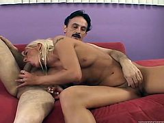 Blonde hooker with small tits is getting screwed bad from behind. She moans loud with joy and pleasure. Blondy chick also rubs her clitoris stimulating female orgasm.