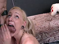 Nasty blonde chick with perky tits polishes hard stem in 69 position. So she is getting her slick pussy polished too. Skanky girl bites hard flesh and balls while giving head.