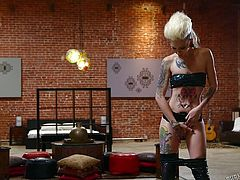 Cute and slim Sierra makes her man horny. She wears her sexy outfit and taunts the dude, until he can't holds it no more. The slim bitch then greets him between her thighs, gets pussy licked and after he's done, she kneels to suck him. Such a thin blonde like her, looks good with a thick cock in the mouth