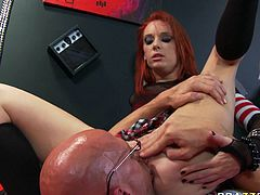 Hussy red haired girl Dani Jensen guzzles meaty shaft