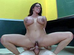 Provocative always horny teacher Ariella Ferrera with enormously big firm melons and great hunger for cock seduces tall rebellious student and rides on his cock like crazy in classroom.