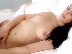 Insolent Layla Rivera moans gently while finger fucking her puffy twat in sexy solo