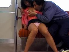 Kinky Japanese girl falls asleep in a train. Some guy fondles the chick and then fingers her pussy while she thinks it is a nice erotic dream.