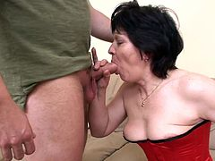 Amazing mature receives a big cock to pound her hairy twat in nasty hardcore porn session