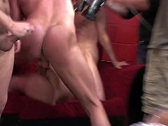 Turned on filthy and experienced dudes Kyle Stone, Jay Huntington, Jeremy Steele strip slim brunette slut Allison Pierce and fuck her balls deep all over the place in rough gang bang.