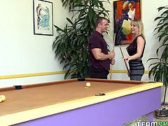 At my buildings game room I encountered a nice buxom blond that was about to start playing all alone. I grabbed a stick and walked over. I asked her if she was good and if she wanted to make a friendly wager. Strip pool! She was so confident she dint even think twice and accepted. The game started and in a few shots her amazing tits were out. They were nice and perky and I couldn't stop looking but I help it together to finish the game. I won and she was completely naked. I had her up on the pool table spread eagle and begging to get fucked! I grabbed those tits and had her screaming as I bone