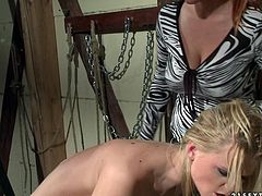 Red haired bitch ties up and spanks one blonde whore. She pulls her hairs and tease her shaved snatch in hot BDSM 21 Sextury sex tube video.