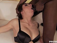 Kinky brunette mommy with fine body loves BBC. She takes hard dong in her mouth sucking like real pro. She then gets face fucked brutally.