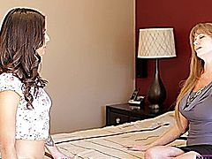 Hot milf Darla Crane shows her stepdaughter Sammi Bananas how to suck cock and give her man the stiffie ride of his life