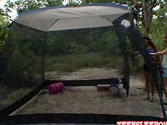 Hot playful lesbian Sophia and Nicole are camping in the backyard.Watch these babes getting together and enjoying great lesbians act.