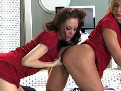 Young tight ass babes Scarlet Fay and Bailey Blue with long legs and great oral skills in sexy uniforms and leather boots lick each others pussies in awesome parody.