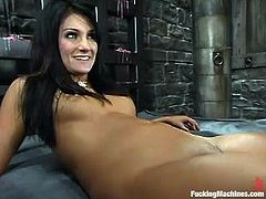 Amazing dark-haired chick Persia DeCarlo is having fun alone. She caresses her gorgeous body and then gets her cunt pounded by a fucking machine.