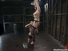 The dominant vixen is going to play with this chick by tying her up, toying her pussy and torturing in wicked ways.
