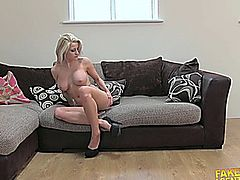 Hot blonde girl casting fuck