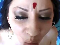 Gorgeous Indian with big tits and a bubble but gets fucked by huge white cock