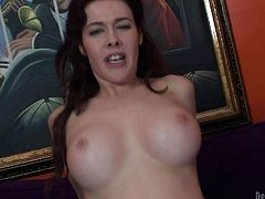 Mae is a busty brunette that she loves to get stuffed. The bitch rides this dude in reverse cowgirl, rubs her clit and squirts everywhere. Her pussy juice is all over her thighs and dick but she still needs some more fucking. Mae changes position and continues to ride him. Will she get filled with cum?