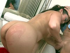 Turned on long haired asian Kaiya Lynn with bouncing ass in sexy uniform and red stripper shoes plays with long glass dildo and gets shaved twat drilled by Otto Bauer.