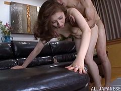 Japanese mature Yurie likes to fuck but this guy will not let her lead. Although she begins to kiss his nipples and cock with desire and pleasure, he grabs her by the head and shovels his cock in her mouth. The guy is showing this broad how's boss and bends her over to dominate her naughty ass!