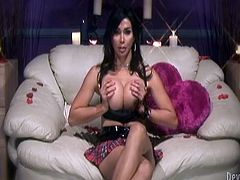 She deserves the name of Vaniity! The dark haired beauty loves to please herself. She gropes her hot boobs, bends over to show us how she fingers her tight anus and then, rubs her penis. Look at her how she jerks off, are we gonna see Vaniity cum?