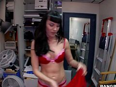 Black haired amateur hottie with slim body in arousing red underwear teases dirty dude in point of view and takes on enormous monster cock in pov at her interview.