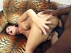 Nice shaved pussy opens up for black dick in this interracial sex video. She loves to get a big black stud and she has it in spades here.