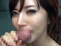 This video has some Japanese cock sucking action, with a facial and blurred pussy to boot. She is loving a hard fucking, no doubt